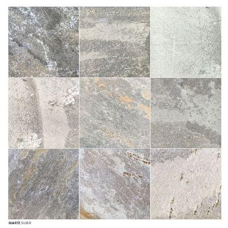 Carrelage piscine effet pierre naturelle grès cérame QUARTZ SILVER 15.25x15.25 cm - 0.699m²