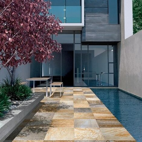 Carrelage piscine effet pierre naturelle QUARTZ GOLD 30.5x30.5 cm - 1.11m²
