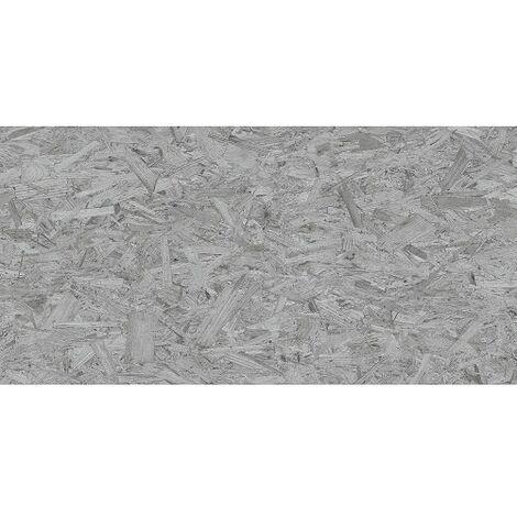 Carrelage rectifié imitation OSB bois aggloméré STRAND-R Gris 59.3X119.3 cm - 1.42 m²