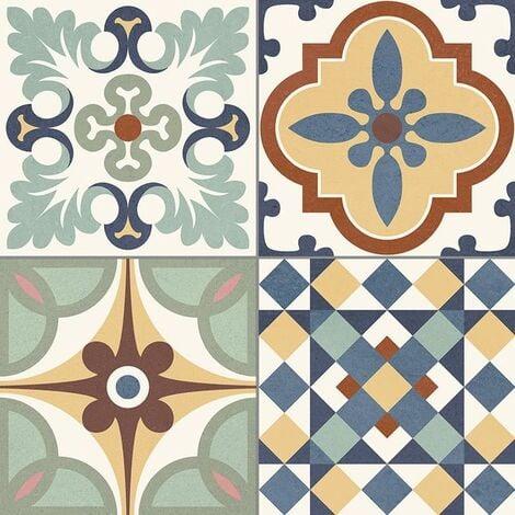 Carrelage style ancien ciment coloré provençal style d antan HERITAGE MIX 33x33 cm - 1.32m²