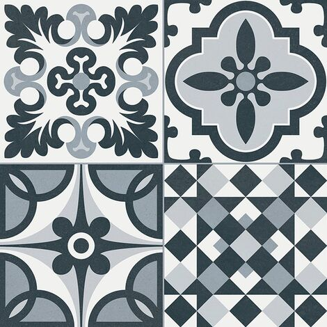 Carrelage style ancien ciment HERITAGE BLACK 33x33 cm - 1.32m²