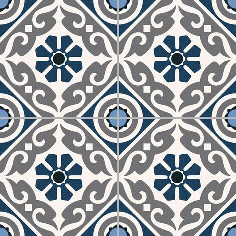 Carrelage style ancien ciment MADRAS BLUE 33x33 cm - 1.32m²
