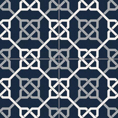 Carrelage style ancien ciment NATTE BLEU 33x33 cm - 1.32m²