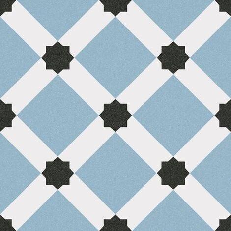 Carrelage style ciment blanc bleu géométrique 20x20 cm 1900 PALAU CELESTE - 1m²