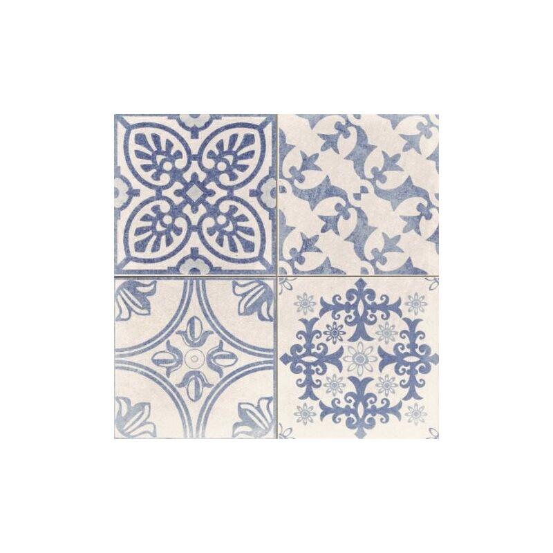 Carrelage Style Ciment Blanc Et Bleu Skyros Deco Blanco 44x44 Cm 1 37m