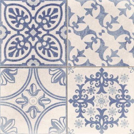 Carrelage style ciment blanc et bleu SKYROS DECO BLANCO 44x44 cm - 1.37m²