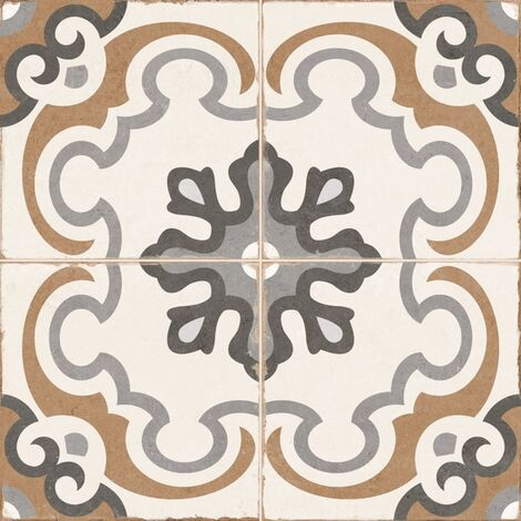 Carrelage style imitation ciment rosace vintage sol ciment OLD SCHOOL TIROKO 45x45 cm - 1.42m2