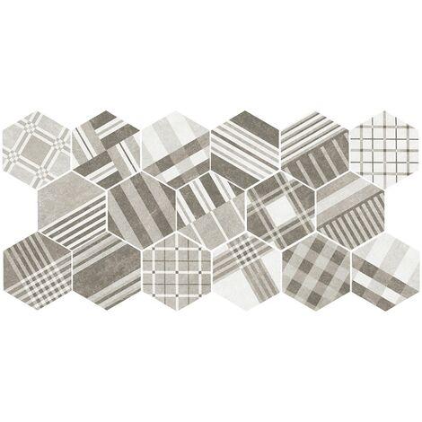 Carrelage tomette décoré 17.5x20 - HEXATILE CEMENT GEO GREY 22101 - R10 - 0.71m²