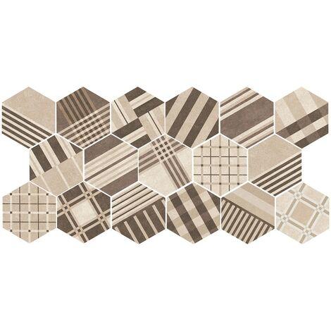 Carrelage tomette décoré 17.5x20 - HEXATILE CEMENT GEO SAND 22100 - R10 - 0.71m²