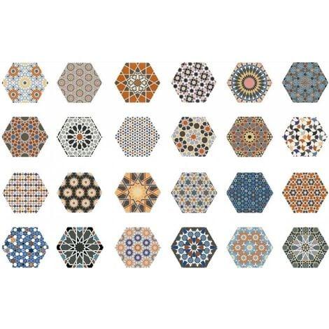 Carrelage tomette décorée style ciment 33x28.5 ANDALUSI MIX - 1m²