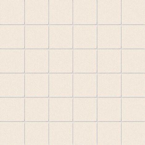 Carrelage uni beige 5x5 cm COTONE MATT sur trame - 1m²