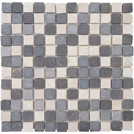 Carrelage Vigo T688, marbre, pierre naturelle, mosaique, quadratins, 11 pièces à 30x30cm = 1m²