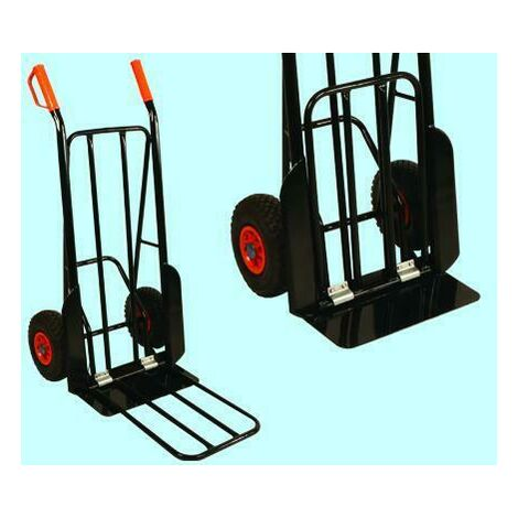Carrello portapacchi brixo acciaio ruote pneumatiche piano 42x20 cm 200kg strong