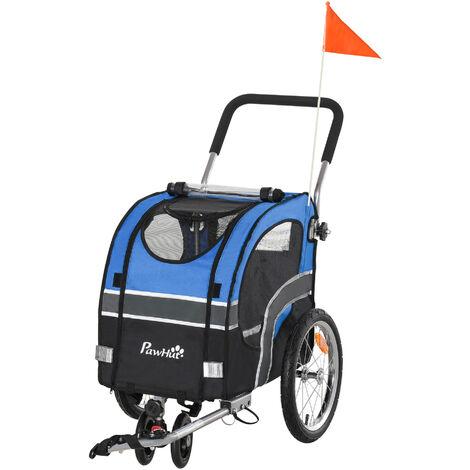 Carrellino Rimorchio Per Cani Da Bicicletta 130x58x94 Cm In Metallo E Tessuto Oxford Blu