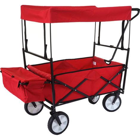 Carrello carriola pieghevole HWC-E38 acciaio tessuto con tetto rosso