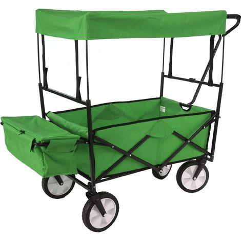 Carrello carriola pieghevole HWC-E38 acciaio tessuto con tetto verde