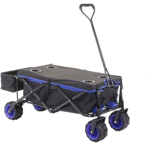 Carrello carriola pieghevole HWC-E62 ruote fuoristrada ~ con tetto/tasca blu
