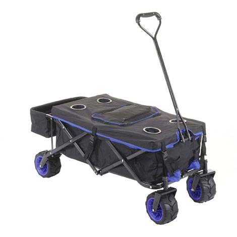Carrello carriola pieghevole HWC-E62 ruote fuoristrada ~ con tetto/tasca + borsa frigo blu