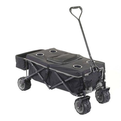 Carrello carriola pieghevole HWC-E62 ruote fuoristrada ~ con tetto/tasca + borsa frigo grigio