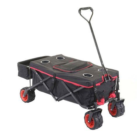 Carrello carriola pieghevole HWC-E62 ruote fuoristrada ~ con tetto/tasca + borsa frigo rosso