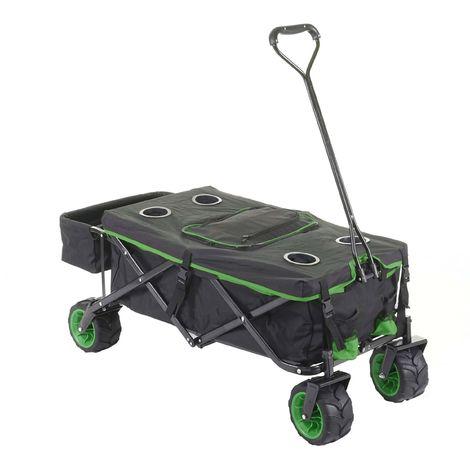 Carrello carriola pieghevole HWC-E62 ruote fuoristrada ~ con tetto/tasca + borsa frigo verde