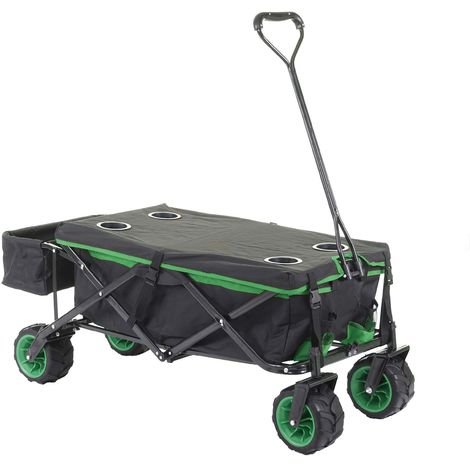 Carrello carriola pieghevole HWC-E62 ruote fuoristrada ~ con tetto/tasca verde