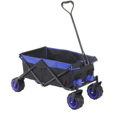 Carrello carriola pieghevole HWC-E62 ruote fuoristrada ~ senza tetto/tasca blu