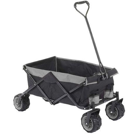 Carrello carriola pieghevole HWC-E62 ruote fuoristrada ~ senza tetto/tasca grigio
