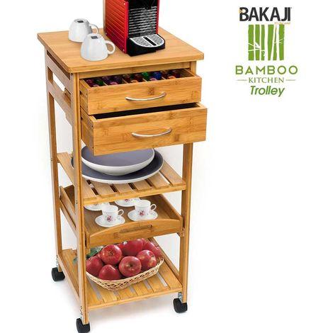 Carrello Cucina In Legno Bambu 3 Ripiani 2 Cassetti Portaposate Vassoio Ruote