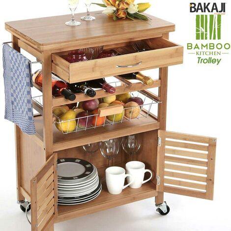 Carrello Cucina in legno BAMBU con Portabottiglie Cassetto ...