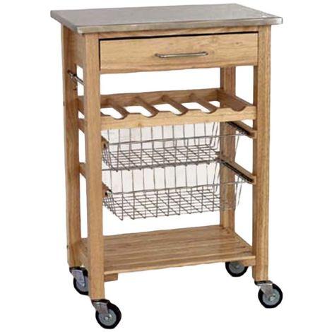 Carrello cucina in legno top in acciaio 2 cesti portabottiglie 4 ruote  TI844/S