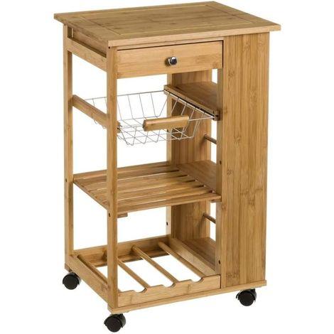 Carrello Cucina legno Bambu Cassetto Cestello Portabottiglie 3 Ripiani Laterali