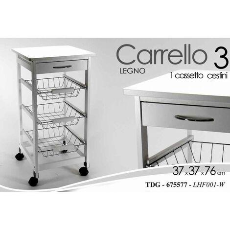 Carrello da cucina bianco cassetto cesti e rotelle cm 37 x 37 x 76 h