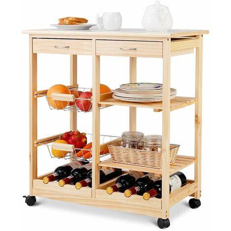 Carrello da Cucina con Ruote Carrello con Due Cassetti Portabottiglie Cestini Frutta in Metallo Ripiani in Legno, in Pino, Due Colori Disponibili, 67 x 37 x 76 cm (Naturale)