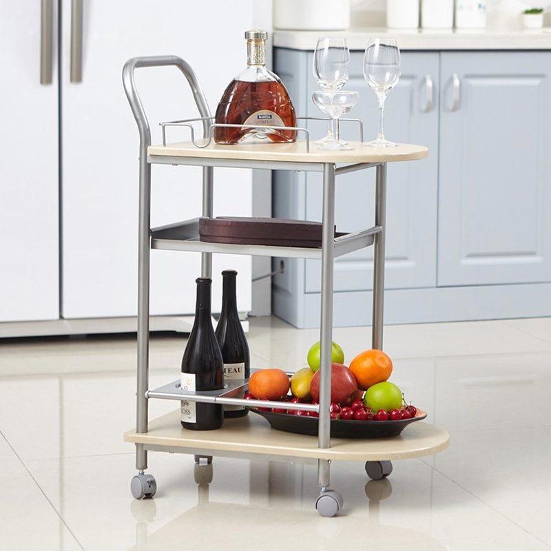 Carrello da Cucina con Ruote Legno e Metallo Trolley da Portata Servizio  Bevande