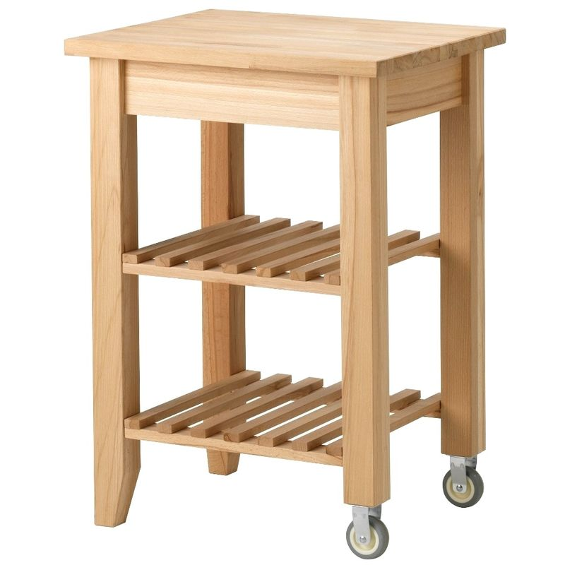 Carrello da cucina Ikea Bekvam in legno massiccio di faggio naturale chiaro  con 2 ruote e 2 ripiani 58 x 50 cm da servizio appoggio per affettatrice ...