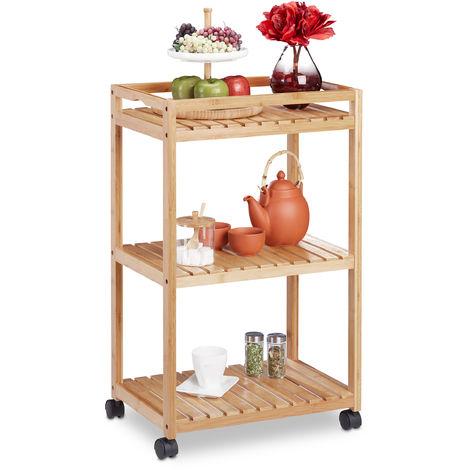 Carrello da Cucina in Bambù, Carrellino con 3 Ripiani, Ruote in Plastica con Freni, HLP 77x47x32,5 cm,naturale
