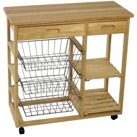 Carrello da cucina in legno con tre cestelli due piani e due ...