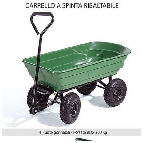 CARRELLO DA GIARDINO RIBALTABILE - MAX 250KG - 4 RUOTE - IN ABS - CARRIOLA