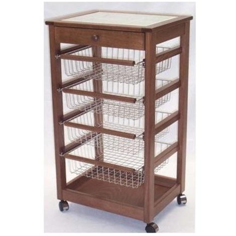 Carrello Eolo con 4 cassetti estraibili in legno