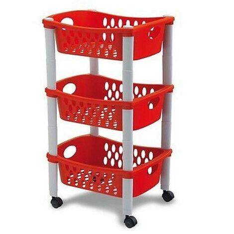 Carrello Frutta Rosso Cucina Carrellino di Servizio in Plastica 3 Cassetti Ruote