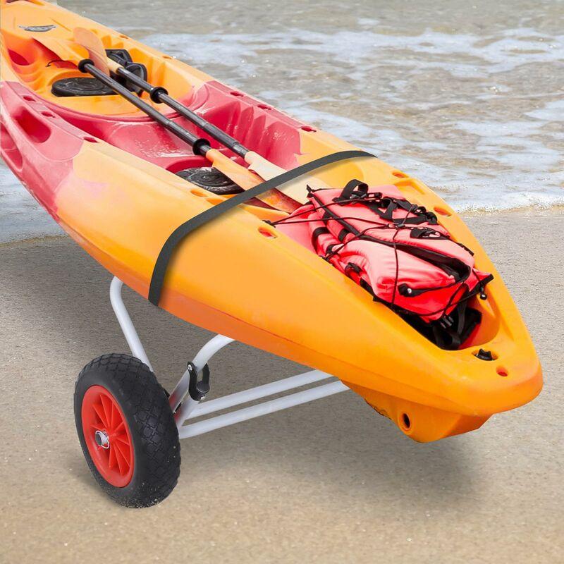 Carrello per Kayak Pieghevole in Alluminio 60x30x37 cm Max 60kg Argento e Nero