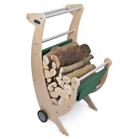 Carrello per legna camino legnaia Telo Verde L50 x P50 x 100H Made in Italy