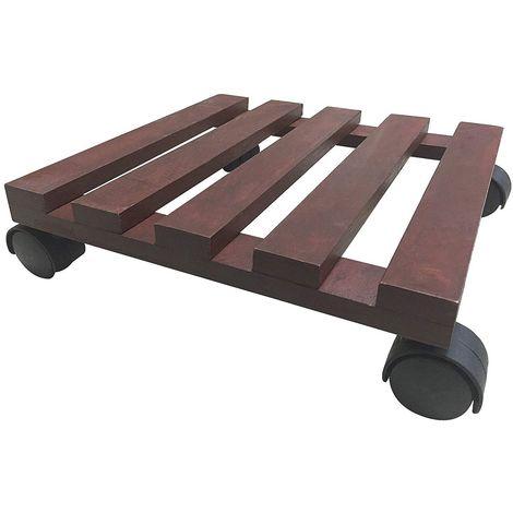 Carrello piattaforma con ruote in pino colore noce chiaro 30x30 cm