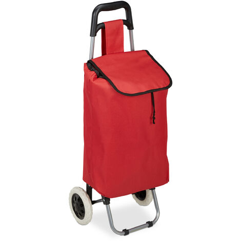 Carrello Pieghevole per la Spesa, Borsa Estraibile da 28 L, Pratico Trolley, Ruote, HLP 92,5x42x28 cm, rosso
