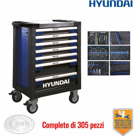 Carrello porta-attrezzi con ruote hyundai 59003 officina 7 cassetti 305 pz