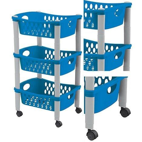 Carrello Porta Frutta Blu Cucina Carrellino di Servizio in Plastica 3 Cassetti