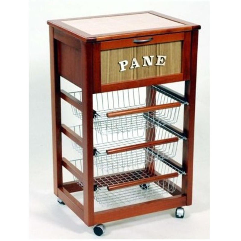 Carrello porta pane con 3 cassetti estraibili in legno