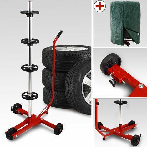 Carrello porta pneumatici albero rotelle conservare ruote 225mm con telo di protezione