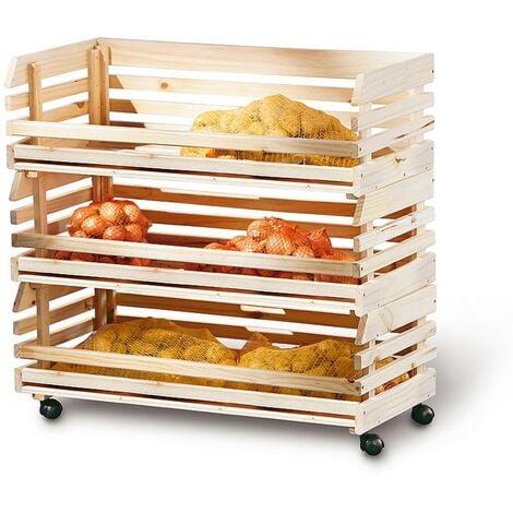 Carrello Porta Verdura con 3 Cassetti Ruote Servizio in Legno Cucina Carrellino
